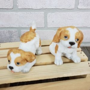 Lot of 2 Puppy Figurines 1407 Tan White